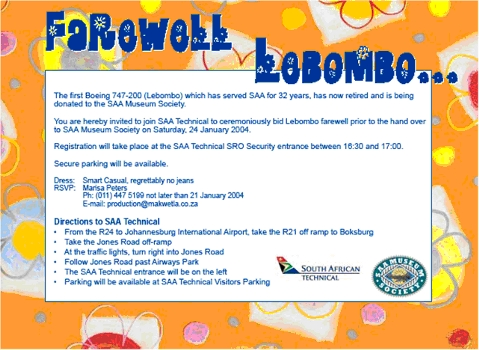 Invitation to the Farewell Ceremony for Lebombo